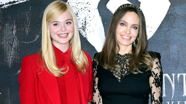 Elle Fanning and Angelina Jolie