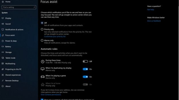 'Focus assist' de Microsoft