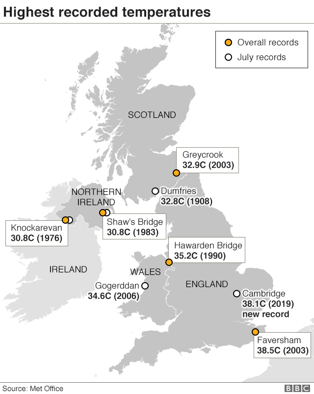 Map Of Northern Uk.Uk Weather The Uk S Record Breaking Heat In Maps And Charts Bbc News