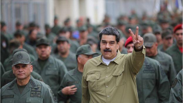 Maduro with Venezuelan troops