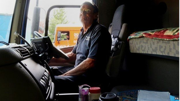 British lorry driver Graham Davis on the M20