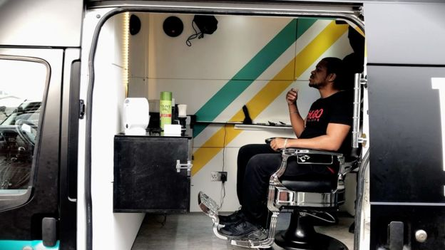 Haircut in van