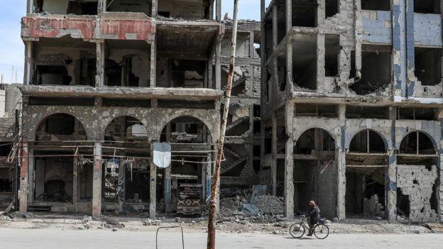 Prédios destruídos em Ghouta Oriental