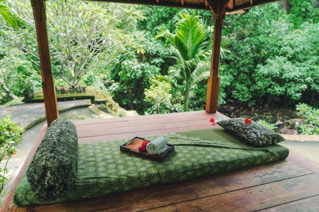Massage mat on the background of rainforest in Bali