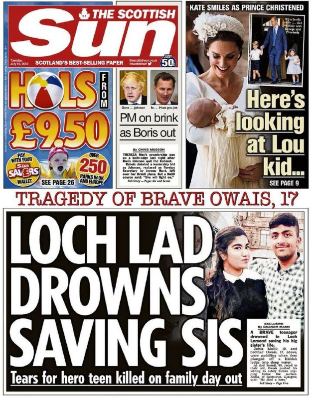 The papers: Teenager dies saving sister - BBC News