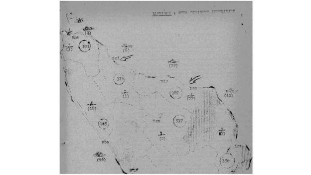 Peta Kematian: 'Lampiran: Peta Intelijen'. Angka dalam lingkaran menunjukkan 'pendukung PKI yang tewas'.