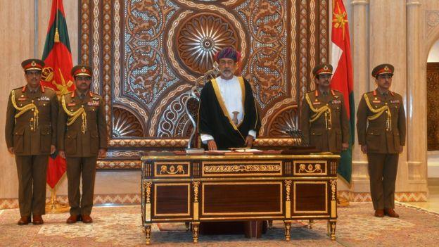Sultan Haitham bin Tariq al-Said is sworn in before the royal family council in Muscat