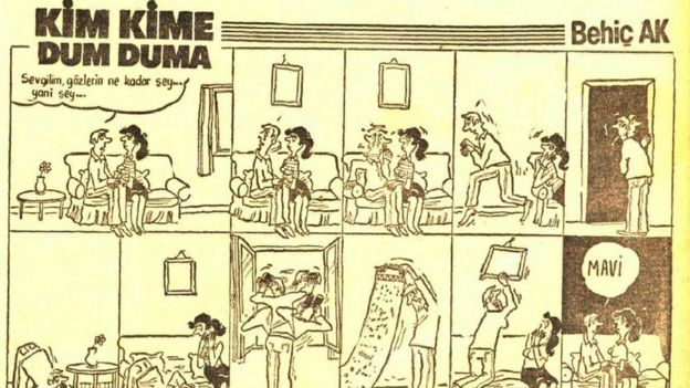 Behiç Ak'ın 6 Ekim 1982'de Cumhuriyet gazetesinde yayımlanan ve maviye yönelik baskıyı hicvettiği karikatürü.