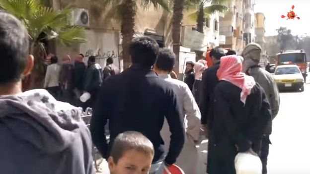Footage on YouTube shows a long queue for food in IS-controlled areas
