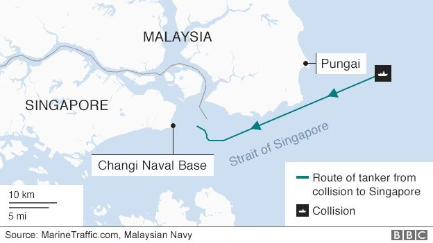 US Navy Ship And Oil Tanker Collide Near Singapore BBC News - Us navy fleet locations map