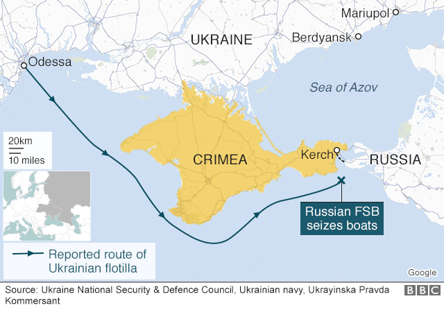 Map of route of Ukrainian boats off Crimea on 25 November