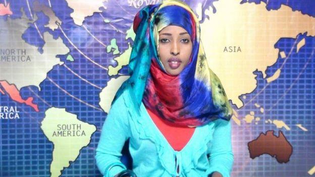 Maryan presenting the news on TV in Somalia