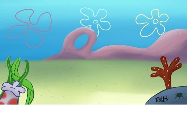 An underwater scene in the style of SpongeBob SquarePants