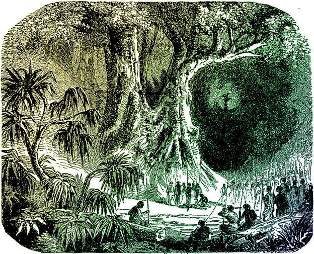 Dibujo de un artista del siglo XIX mostrando un juicio con prueba de tangena.