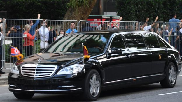 Chiếc xe chở ông Kim Jong-un tới dự cuộc gặp thượng đỉnh ở Singapore