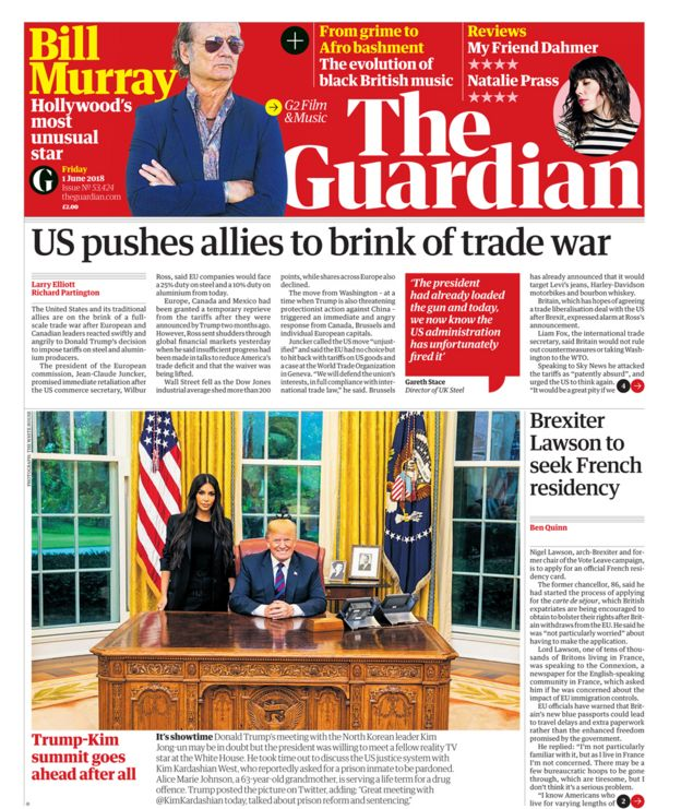 Guardian front page - 01/06/18