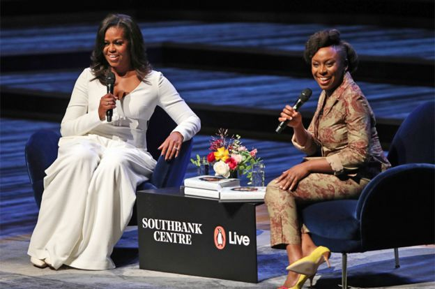 Michelle Obama speaks with Nigerian author Chimamanda Ngozi Adichie at London's Southbank Centre