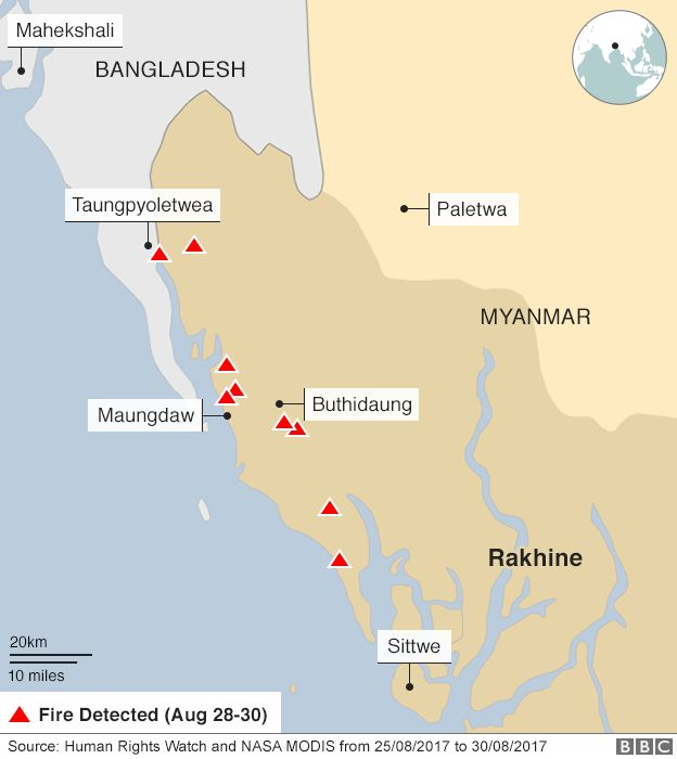 BBC graphic of fires in Myanmar