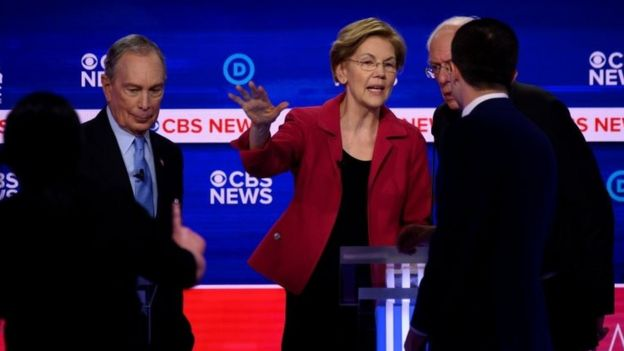 Michael Bloomberg (left) and Elizabeth Warren (centre) after the debate in Charleston, South Carolina. Photo: 25 February 2020