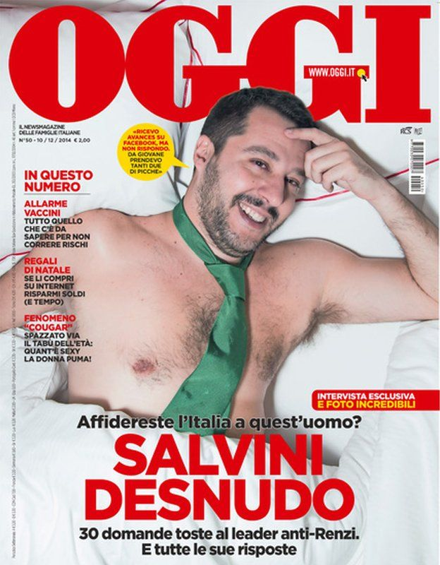 Matteo Salvini topless in a green tie