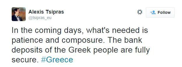 Tweet by Alexis Tsipras