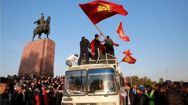 Opposition supporters during a protest against the parliamentary election results at the central square of Ala-Too in Bishkek, Kyrgyzstan, 5 October 2020
