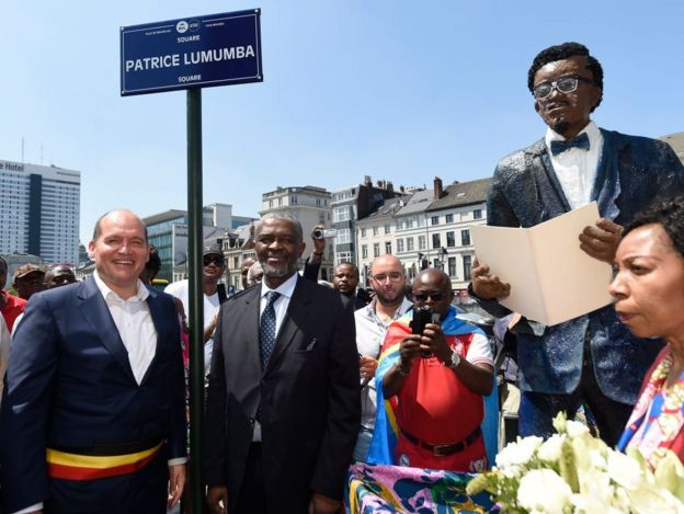 Congolese independence hero Patrice Lumumba is commemorated in a Brussels square