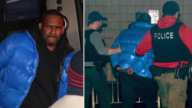 Collage showing R Kelly arriving and being led away in handcuffs
