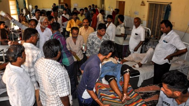Indian injured people are being treated at a hospital in Barmer