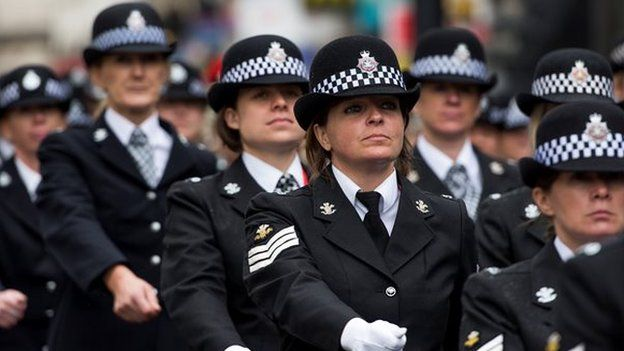 police officer parading through Cardiff