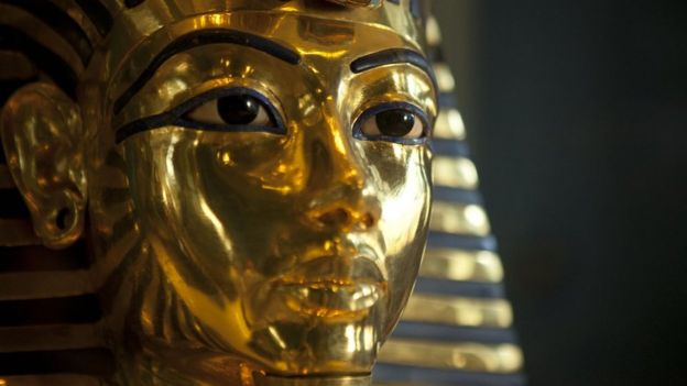 The mask of Tutankhamun at The Museum of Egyptian Antiquities, Cairo