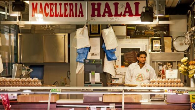A halal butcher in Italy