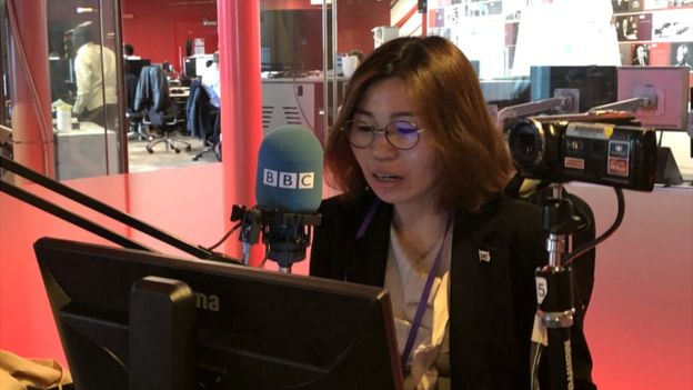 BBC 코리아와 인터뷰 중인 탈북자 지현아 씨