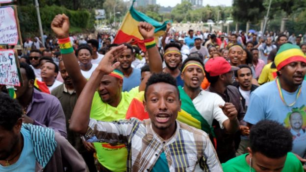 Ethiopians at Mr Abiy's rally