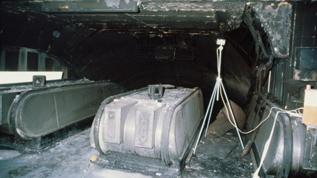 A charred escalator at King's Cross Underground Station
