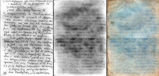 Três imagens mostram escritos de Nadjari