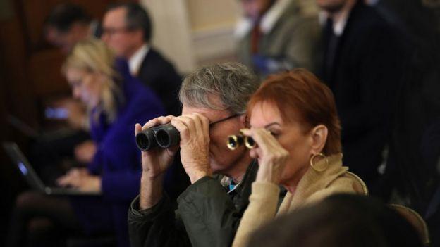 Some spectators brought binoculars