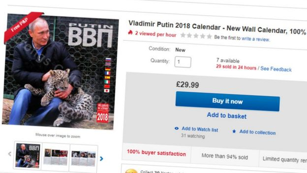 Screen grab of Ebay listing of 2018 Vladimir Putin calendar