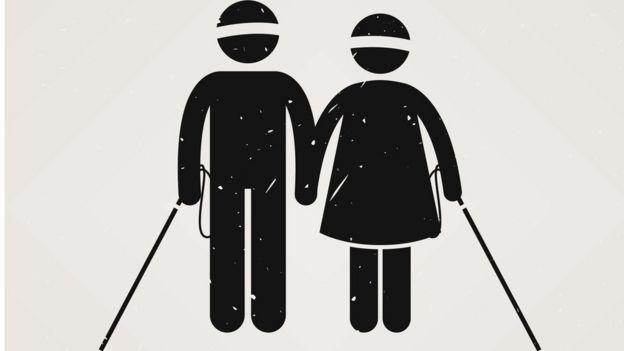 Dibujos de dos personas ciegas agarradas de la mano.
