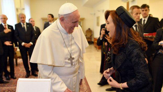 Cristina Fernández de Kirchner durante un encuentro con el Papa Francisco