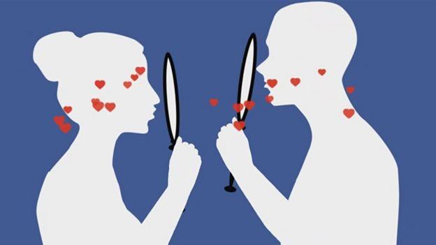 Pareja con espejos frente a sus caras dibujo