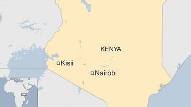 Map showing location of Kisii