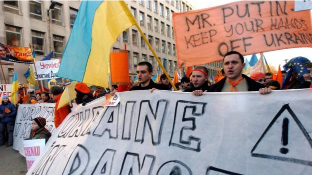 Protestas contra Rusia en Ucrania.