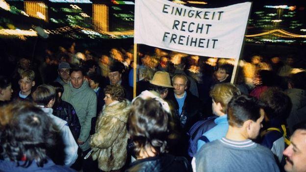 Manifestación en Alexanderplatz en noviembre de 1989.