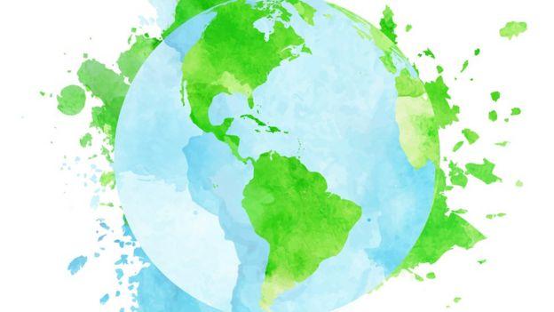 Ilustração mostra o planeta, com destaque para porções verdes