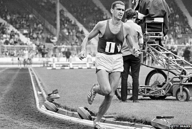 Ron Clarke of Australia in action during the 3 miles race at the Amateur Athletics Association Championships at the White City Stadium in London on 9th July, 1966.