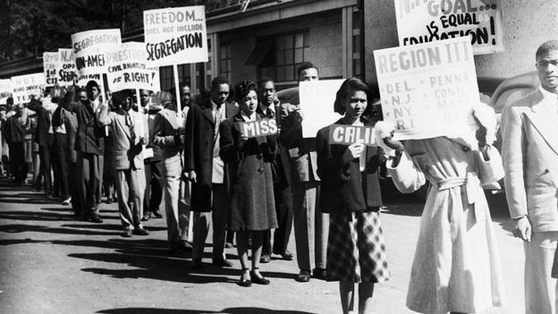 Protesta de afroestadounidenses.