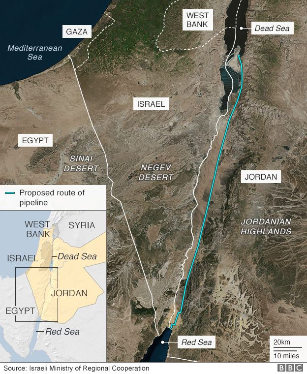 Map showing proposed route of a Red Sea - Dead Sea pipeline