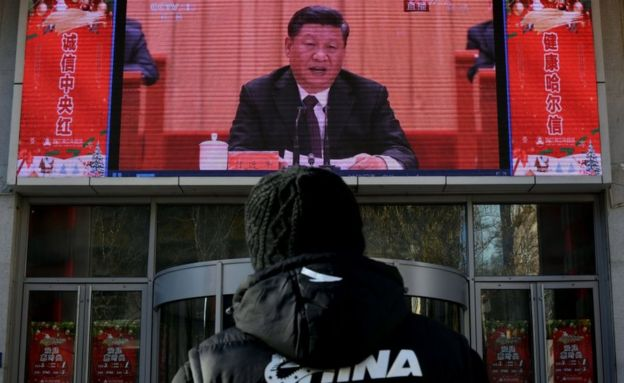Discurso de Xi Jinping é exibido em telão