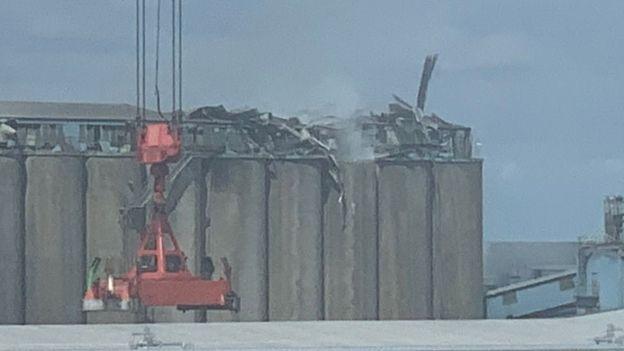 Explosion at grain silo
